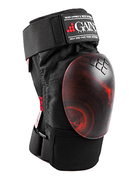 GAIN THE SHIELD Hard Shell Knee Pads, w. red/black SWIRL caps